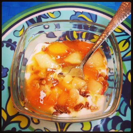 The Brentwood B&B : Greek yogurt, peaches, and homemade granola.