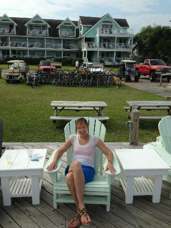 Ocracoke Harbor Inn: After the complimentary breakfast on dock with Inn in background.