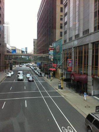 Minneapolis Skyway System: Standing in the skyway, watching traffic drive under me.