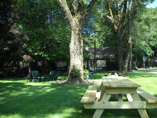 Earl of Sandwich Motel: Garden where we had breakfast daily - so peaceful!