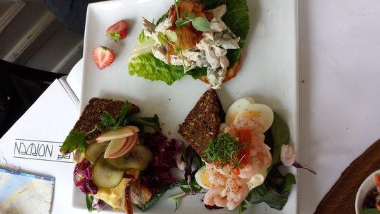Cafe Norden: Top to Bottom: Turkey/Apple/Cabbage, Chicken/Asparagus, Shrimp/Egg