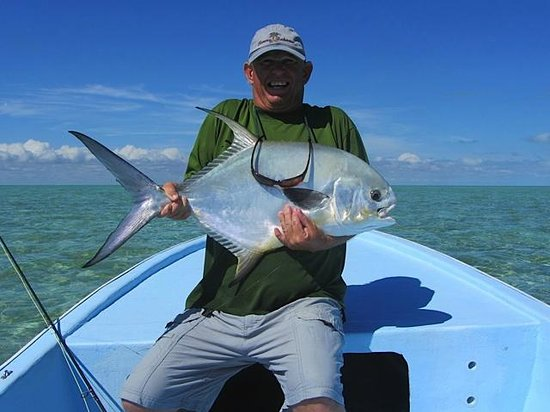 Tarpon Caye Belize: Fly fishing dream--a Permit