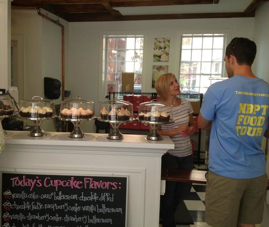 "Taste Newburyport Food Tour: Our Guide from ""Taste Newburyport"" speaking with Eat Cake founder and owner."