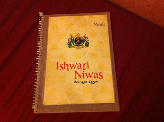 Ishwari Niwas Palace: The menue card