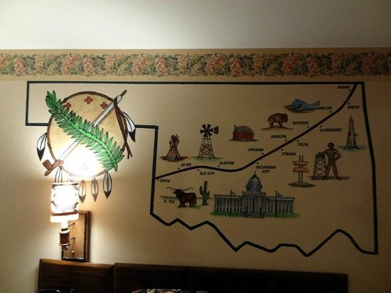 Chelsea, OK: The mural inside the Route 66 room.