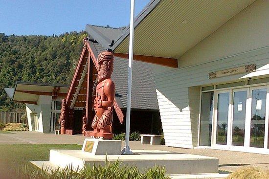 Mataatua: The House That Came Home: The museum and theatre, with the wharenui behind.