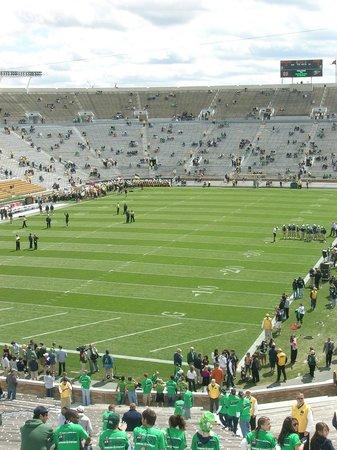 Notre Dame Stadium: the pristine grassy field