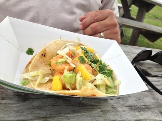 Eduardo's Taco Stand: Mango Shrimp Tacos.