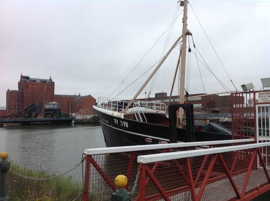 Grimsby Fishing Heritage Centre: The Ross Tiger, with Victoria Dock across the river