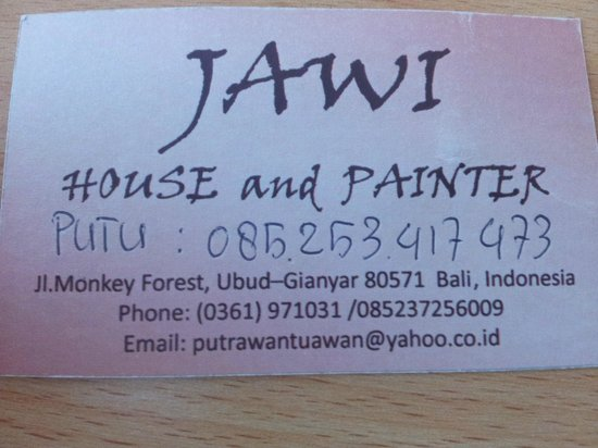 Jawi House & Painter : Contact details to Putu