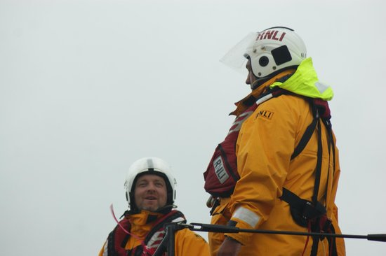 Crystal House: Lifeboat crew returning from rescuing fishing boat