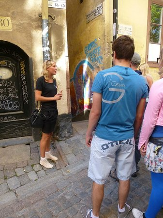 OURWAY Tours in Stockholm: Lisa telling about Marlen Trotzig Gränd