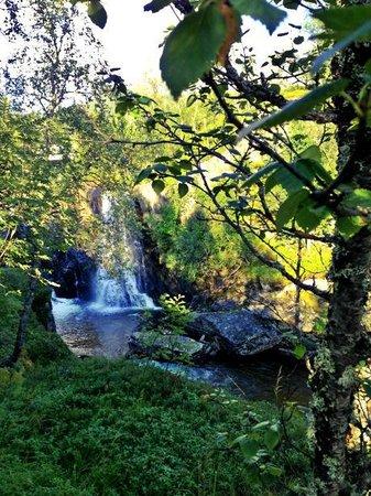 Kobbelv Vertshus: Waterfall in front of hotel