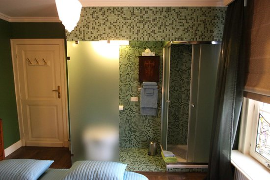 B&B De Lachende Engel: Douche cabin for the green room