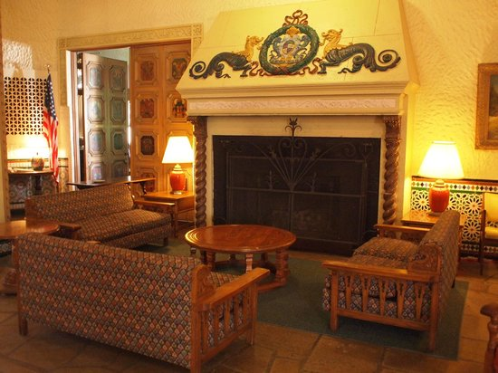 The Alcazar: Lobby fireplace