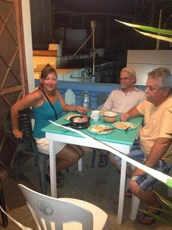 Hotel Maria del Pilar: enjoying our lobster dinner on the shared porch