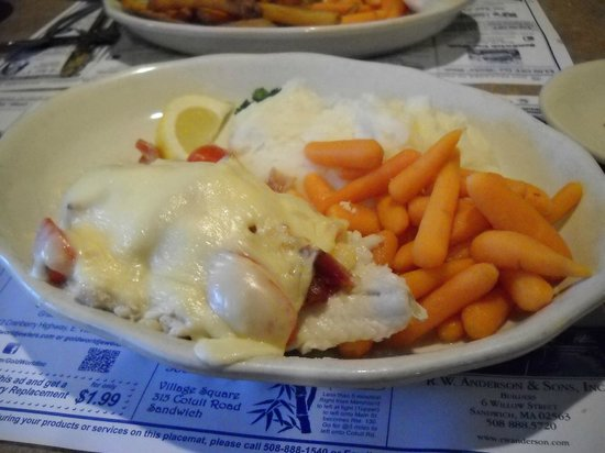 Marshland Restaurants & Bakeries: Baked Sole Nantucket - great potential but a fail because fish was not fresh and cheese was proc
