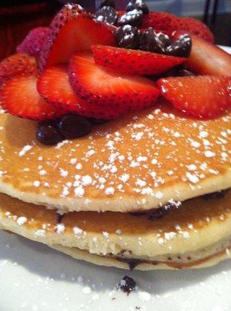 Tisha's: chocolate chip pancakes with strawberries