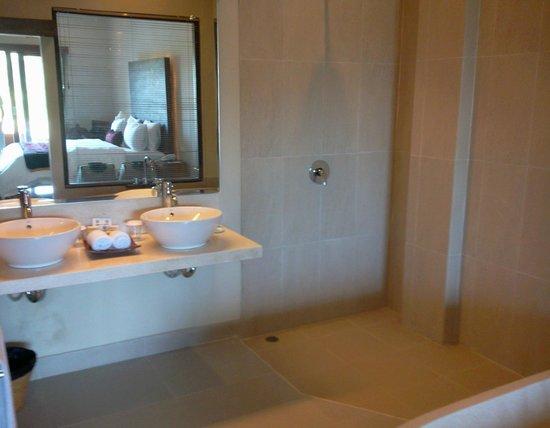 Inata Bisma Resort & Spa Ubud: Bathroom sink and shower