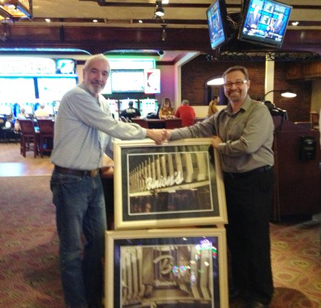 Binion's Roadhouse: Bob receives Binion's Casino photos from Tim Lager, GM, Binion's Casino, Las Vegas