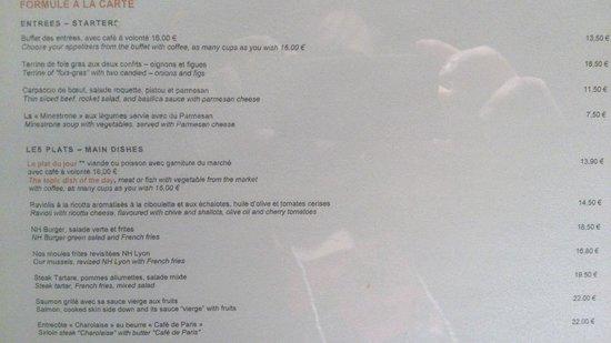 NH Lyon Airport: menu