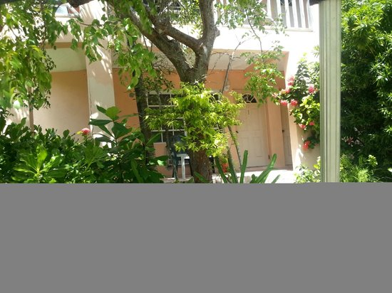 Baretta's Seashell Inn: View of door to room and a little of the grounds