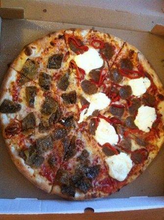 Home Slice Pizza: half eggplant, half sausage, ricotta & roasted red peppers