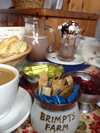 Brimpts Farm: Part of the spread, with my daughter's special Hot Chocolate too