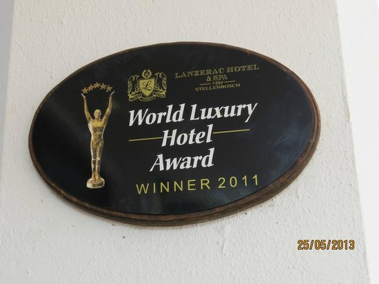 Lanzerac Hotel & Spa: Hotel Award - very deserving