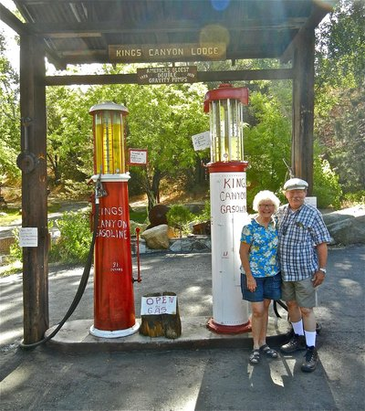 Kings Canyon Lodge: 4. Functional ancient gravity flow gas pumps, circa 1930s (and us, not so ancient