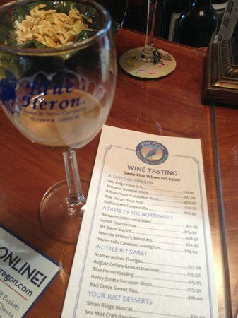 Blue Heron Cheese & Wine Company: The menu and a glass at the Blue Heron
