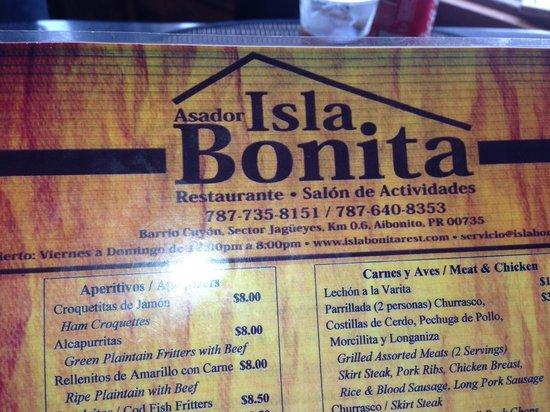 Restaurante Asador Isla Bonita: The menu.