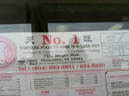 No  Chinese Restaurant Menu Gloucester Va