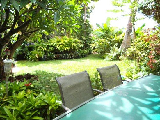 Aloha Lani Inn : Lanai Table & Backyard