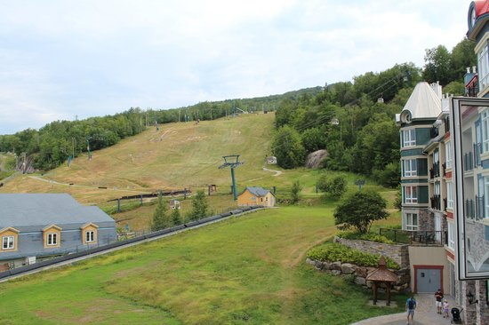 Le Sommet des Neiges: View from our balcony of the mountain gondola