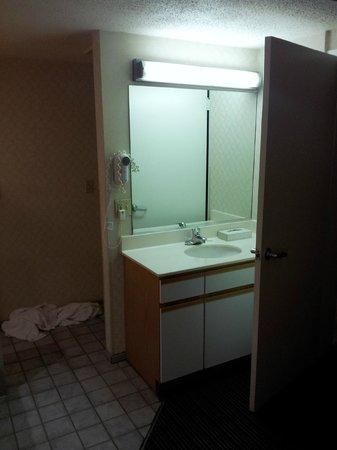 open sink/vanity behind the bedroom door-totally open to the