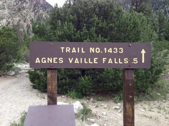 Agnes Vaille Falls : Sign showing hiking distance.