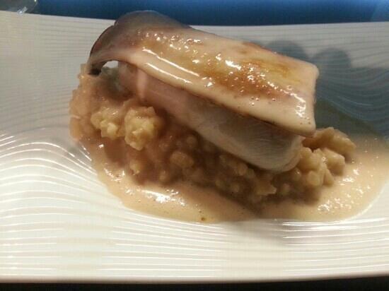 Le Miyabi : risotto et bar cuis vapeur et tranche de champignon japonais