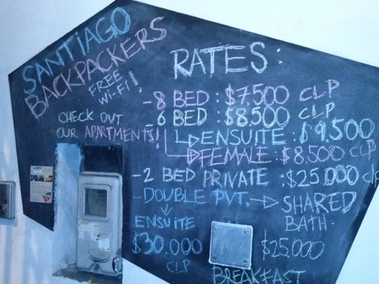 Santiago Backpackers Hostel: Tarifas
