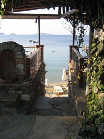 Hotel Megali Ammos House: Trappan från hotellet till stranden
