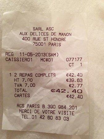 Aux Délices De Manon: stupid bill