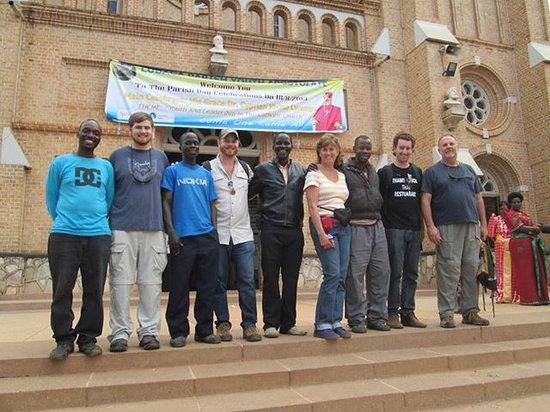 Kampala Boda Boda City Tours : Outside Rubaga Cathedral.