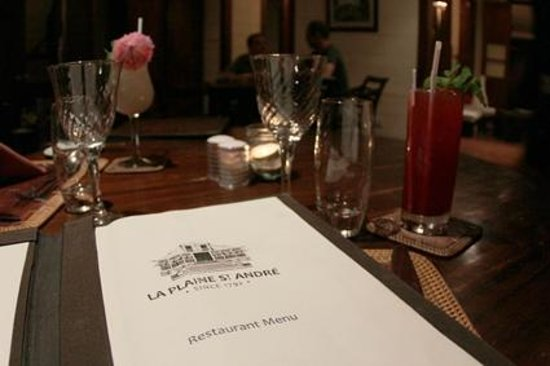 La Plaine St. Andre: The menu