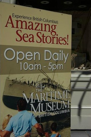 The Maritime Museum of British Columbia: Maritime Museum entrance sign