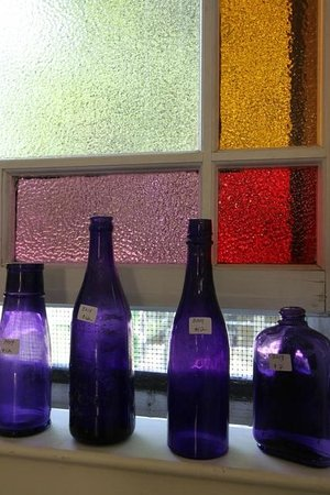 Cottage Decor: Colorful glass bottles