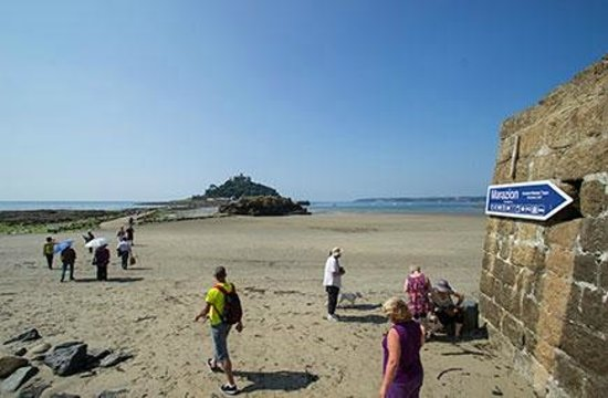St Michael's Mount from the beach steps at Marazion