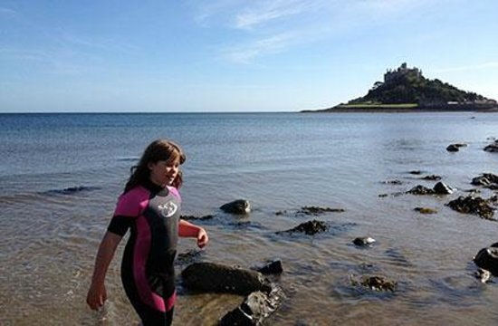 Marazion's soft, sandy beaches are a safe place for children to play
