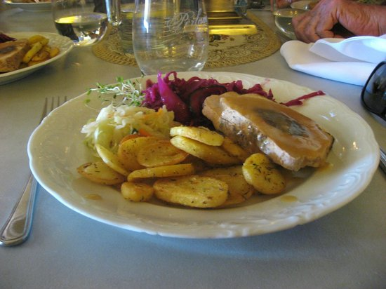 Literatka Restaurant Warsaw Poland -delicious pork fiffet with prune, potatos and vegitables