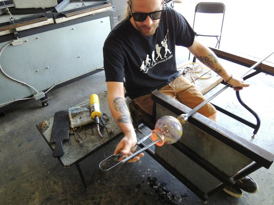 Tacoma Glassblowing Studio: Jake doing one of the more difficult parts of the process
