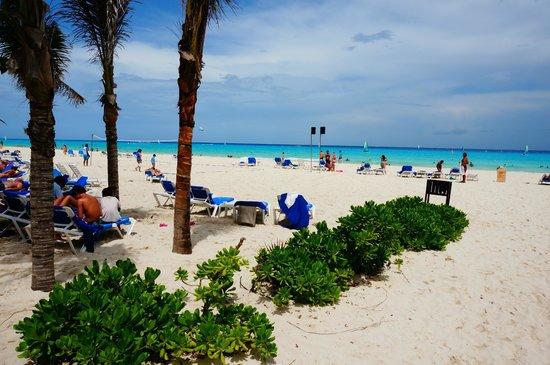 Sandos Playacar Beach Resort: Beach area to left.